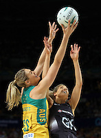 09.10.2016 Silver Ferns Jane Watson and Australia's Caitlin Bassett in action during the Silver Ferns v Australia netball test match played at Qudos Bank Arena in Sydney. Mandatory Photo Credit ©Michael Bradley.