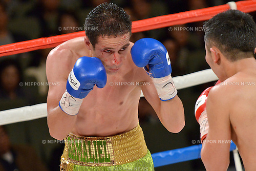 (L-R) Gamaliel Diaz (MEX), Takahiro Aou (JPN),.OCTOBER 27, 2012 - Boxing :.Gamaliel Diaz of Mexico and Takahiro Aou of Japan during the 9th round of the WBC super featherweight title bout at Tokyo International Forum, Hall A in Tokyo, Japan. (Photo by Hiroaki Yamaguchi/AFLO)