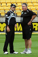 NZ's Brendon McCullum talks to coach Andy Moles during the 2nd ODI cricket match between the New Zealand Black Caps and India at Westpac Stadium, Wellington, New Zealand on Friday, 6 March 2009. Photo: Dave Lintott / lintottphoto.co.nz
