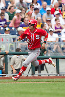 North Carolina State Wolfpack third baseman Grant Clyde #22 runs during Game 3 of the 2013 Men's College World Series between the North Carolina State Wolfpack and North Carolina Tar Heels at TD Ameritrade Park on June 16, 2013 in Omaha, Nebraska. The Wolfpack defeated the Tar Heels 8-1. (Brace Hemmelgarn/Four Seam Images)