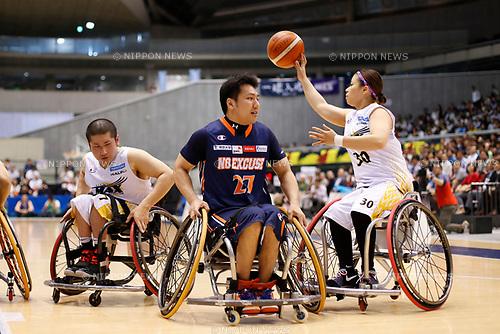 (L-R) Ryo Honda (MAX), Tsuyoshi Yuasa (NO EXCUSE), Ikumi Fujii (MAX), <br /> MAY 5, 2017 - Wheelchair Basketball : <br /> Japan Wheelchair Basketball Championship<br /> final match between Miyagi MAX - NO EXCUSE <br /> at Tokyo Metropolitan Gymnasium in Tokyo, Japan. <br /> (Photo by Yohei Osada/AFLO SPORT)