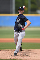 New York Yankees pitcher Ty Hensley (17) delivers a pitch during a minor league spring training game against the Toronto Blue Jays on March 24, 2015 at Englebert Minor League Complex in Dunedin, Florida.  (Mike Janes/Four Seam Images)