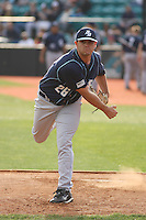 Kyle Blair #26 the University of San Diego Toreros in the bullpen preparing to pitch against the Coastal Carolina University Chanticleers   at Watson Stadium at Vrooman Field in Conway,, SC on March 26, 2010. Photo by Robert Gurganus/Four Seam Images