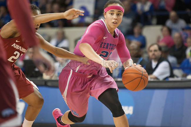 Junior guard Makayla Epps (25) drives past a defender during the game against the Arkansas Razorbacks on Sunday, February 21, 2016 in Lexington, Ky. Kentucky won the game 77-63. Photo by Hunter Mitchell | Staff