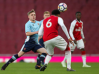 Blackpool U18's Finn Sinclair-Smith competing with Arsenal U18's Zech Medley<br /> <br /> Photographer Andrew Kearns/CameraSport<br /> <br /> Emirates FA Youth Cup Semi- Final Second Leg - Arsenal U18 v Blackpool U18 - Monday 16th April 2018 - Emirates Stadium - London<br />  <br /> World Copyright &copy; 2018 CameraSport. All rights reserved. 43 Linden Ave. Countesthorpe. Leicester. England. LE8 5PG - Tel: +44 (0) 116 277 4147 - admin@camerasport.com - www.camerasport.com