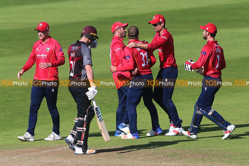 Neil Wagner of Essex celebrates taking the wicket of Jim Allenby during Somerset vs Essex Eagles, Royal London One-Day Cup Cricket at The Cooper Associates County Ground on 14th May 2017