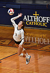 Althoff's Katie Wemhoener leaps to serve in the second game. Althoff defeated Columbia in two games in volleyball action on Thursday August 23, 2018.<br /> Tim Vizer/Special to STLhighschoolsports.com
