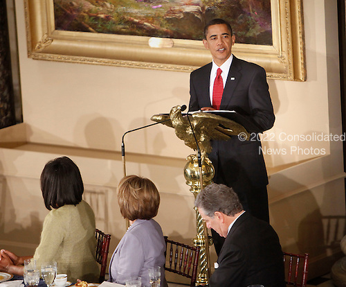 Washington, DC - January 20, 2009 -- United States President Barack Obama makes remarks during a  luncheon at Statuary Hall in the U.S. Capitol  in Washington, Tuesday, January 20, 2009, after being sworn in as the 44th President of the United States..Credit: Lawrence Jackson - Pool via CNP
