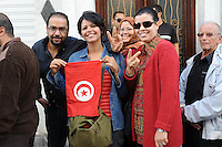 Tunis. 23 October 2011. .90% of registered voters waited in line for hours at the polling station on rue de Marseille to cast a vote in the first free elections in Tunisia's history. ..Yosser Halloul.
