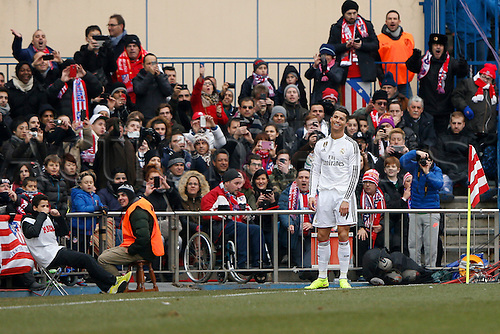 07.02.2015. Madrid, Spain. La Liga football, Atletico Madrid versus Real Madrid.  7 Cristiano Ronaldo dos Santos Forward of Real Madrid frustrated by the result
