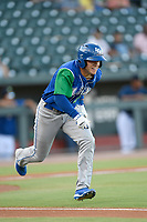 Third baseman Nathan Eaton (8) of the Lexington Legends runs toward first base in a game against Columbia Fireflies on Friday, June 14, 2019, at Segra Park in Columbia, South Carolina. Lexington won, 5-1. (Tom Priddy/Four Seam Images)