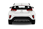 Straight rear view of a 2019 Hyundai Veloster Base 3 Door Hatchback stock images