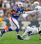 21 September 2008: Buffalo Bills' running back Marshawn Lynch makes a play in the second quarter against the Oakland Raiders at Ralph Wilson Stadium in Orchard Park, NY. The Bills defeated the Raiders 24-23 to mark their first 3-0 start of the season since 1992...Mandatory Photo Credit: Ed Wolfstein Photo