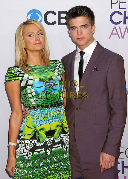 Paris Hilton and River Viiperi.People's Choice Awards 2013 - Arrivals held at Nokia Theatre L.A. Live, Los Angeles, California, USA..January 9th, 2013.half length dress blue black green yellow turquoise pattern print dress platform purple grey gray suit shirt tie couple bow ribbon.CAP/ADM/BP.©Byron Purvis/AdMedia/Capital Pictures.