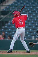AZL Angels left fielder William Rivera (9) at bat during an Arizona League game against the AZL Athletics at Tempe Diablo Stadium on June 26, 2018 in Tempe, Arizona. The AZL Athletics defeated the AZL Angels 7-1. (Zachary Lucy/Four Seam Images)