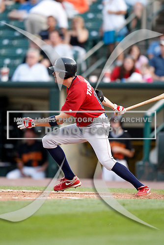 August 3, 2009:  Outfielder Rich Thompson of the Lehigh Valley IronPigs at bat during a game at Frontier Field in Rochester, NY.  Lehigh Valley is the International League Triple-A affiliate of the Philadelphia Phillies.  Photo By Mike Janes/Four Seam Images