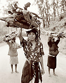 Madagascar, women carrying wood to the market, Perinet, Betsimisaraka Tribe (B&W)