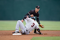 Leody Taveras (3) of the Hickory Crawdads steals second base ahead of the tag from Max Dutto (6) of the Kannapolis Intimidators at Kannapolis Intimidators Stadium on April 22, 2017 in Kannapolis, North Carolina.  The Intimidators defeated the Crawdads 10-9 in 12 innings.  (Brian Westerholt/Four Seam Images)