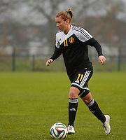 20141126 - TUBIZE , BELGIUM : Belgian Chloe Van Mingeroet pictured during the Friendly female soccer match between Women under 19 / 21  teams of  Belgium and Turkey .Wednesday 26th November 2014 . PHOTO DAVID CATRY