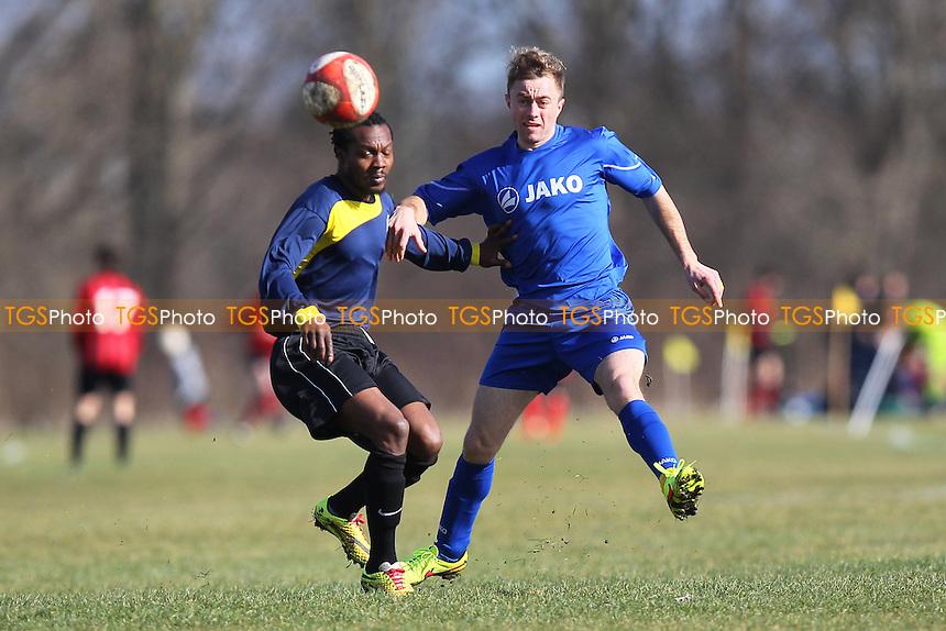 FC Bartlett (blue/black) vs Lions - Hackney & Leyton Sunday League Albert Daniels Cup Footbal at South Marsh, Hackney Marshes, London - 01/03/15 - MANDATORY CREDIT: Gavin Ellis/TGSPHOTO - Self billing applies where appropriate - 0845 094 6026 - contact@tgsphoto.co.uk - NO UNPAID USE