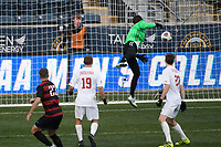 Chester, PA - Sunday December 10, 2017: Sam Werner scores the game winning goal Stanford University defeated Indiana University 1-0 in double overtime during the NCAA 2017 Men's College Cup championship match at Talen Energy Stadium.