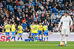 Pedro Tanausu Tana celebrates after scoring a goal  during the match of Spanish La Liga between Real Madrid and UD Las Palmas at  Santiago Bernabeu Stadium in Madrid, Spain. March 01, 2017. (ALTERPHOTOS / Rodrigo Jimenez)