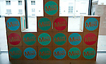 """Belgium, Mons - December 17, 2014 -- European Capital of Culture in 2015 (together with the Czech city of Pilsen) themed """"Where technology meets culture""""; here, the logo on boxes -- Photo © HorstWagner.eu"""
