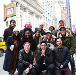"Gerard Canonico, George Salazar, Jason Tam, Stephanie Hsu, Tiffany Mann, Talia Suskauer, Katlyn Carlson, Troy Ivvata, Joel Waggoner, Britton Smith, Morgan Siobhan Green,  Jason Sweettooth Williams with The Cast  during the Theatre Marquee unveiling for ""Be More Chill"" on January 17, 2019 at the Lyceum Theatre in New York City."