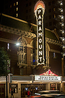 AUSTIN, TX  - November 30, 2017: The Marquee at Paramount Theater as John McLaughlin and Jimmy Herring perform at Paramount Theater in Austin, Texas on November 30, 2017. Credit: Erik Kabik Photography/ MediaPunch