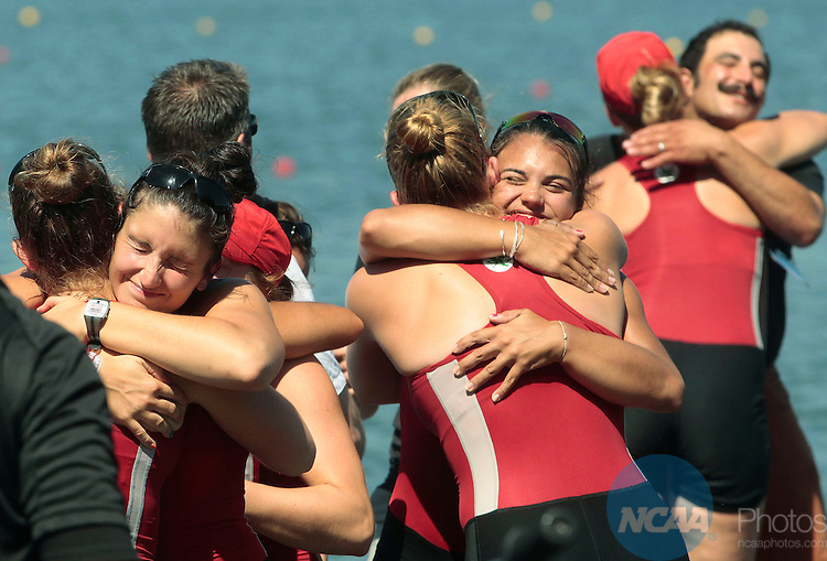 31 MAY 2014: Ohio State Celebrates after winning the Division I Rowing Championships held at the Indianapolis Rowing Center at Eagle Creek in Indianapolis, IN. Ohio State won the team national title.  AJ Mast/NCAA Photos