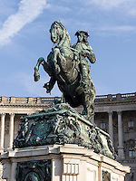 Denkmal Prinz Eugen vor der Nationalbibliothek in  Neue Hofburg, Wien, &Ouml;sterreich, UNESCO-Weltkulturerbe<br /> Monument Prince Eugen at National Library in Neue Hofburg, Vienna, Austria, world heritage