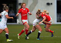 Megan Jones tackles Emily Belchos during the 2017 International Women's Rugby Series rugby match between England Roses and Canada at Rugby Park in Christchurch, New Zealand on Tuesday, 13 June 2017. Photo: Dave Lintott / lintottphoto.co.nz