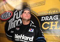Nov 14, 2010; Pomona, CA, USA; NHRA funny car driver Matt Hagan during the Auto Club Finals at Auto Club Raceway at Pomona. Mandatory Credit: Mark J. Rebilas-