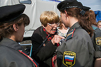 Moscow, Russia, 31/05/2010..A war veteran argues with police shortly before they broke up an opposition protest in central Moscow and arrested around 170 people. Opposition activists hold regular demonstrations on the 31st day of the month, protesting against restrictions on the freedom of assembly, which is protected by article number 31 of the Russian constitution.