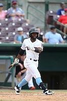 Ruben Sosa (1) of the Inland Empire 66ers bats during a game against the Stockton Ports at San Manuel Stadium on June 28, 2015 in San Bernardino, California. Stockton defeated Inland Empire, 4-1. (Larry Goren/Four Seam Images)
