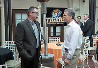 Head football coach Rob Cushman and Jeffrey B. Goldstein '86<br /> Occidental College alumni, staff and other members of the Oxy community gather in support of the football program, March 10, 2018 on Branca Patio.<br /> In January 2018 a 16-member task force of trustees, faculty, students, staff and alumni met to determine the fate of the football program in the wake of the premature end of the 2017 season. The College is moving full speed ahead with preparations for the 2018 season, led by the Football Action Team.<br /> (Photo by Marc Campos, Occidental College Photographer)