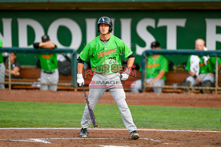 Jameson Fisher (23) of the Great Falls Voyagers at bat against the Ogden Raptors in Pioneer League action at Lindquist Field on August 18, 2016 in Ogden, Utah. Ogden defeated Great Falls 10-6. (Stephen Smith/Four Seam Images)