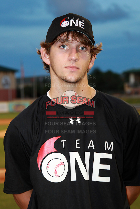 Pitcher Colyn O'Connell (24) of Dunedin High School participates in the Team One Futures Game East at Roger Dean Stadium in Jupiter, Florida September 25, 2010..  Photo By Mike Janes/Four Seam Images