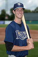 Kyle Tucker (19) of H.B. Plant High School in Tampa, Florida poses for a photo while playing for the Tampa Bay Rays scout team during the East Coast Pro Showcase on July 31, 2014 at NBT Bank Stadium in Syracuse, New York.  (Mike Janes/Four Seam Images)