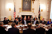 United States President Barack Obama and Vice President Joseph Biden speak to a bipartisan group of governors, including from left to right: Governor Bob Riley (Republican of Alabama), Chairman, Southern Governors Association; Governor Joe Manchin (Democrat of West Virginia), Vice Chairman, National Governors Association (NGA); Vice President Biden; President Obama; Governor Jim Douglas (Republican of Vermont), Chairman, National Governors Association (NGA); Governor Christine Gregoire (Democrat of Washington) about building a clean energy economy, in the State Dining Room of the White House, Wednesday, February 3, 2010. .Mandatory Credit: Pete Souza - White House via CNP