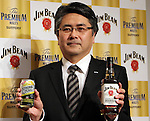 January 10, 2017, Tokyo, Japan - Suntory Spirits Limited president Sho Semba displays Jim Beam bourbon whisky as he announce the company's business strategy in Tokyo on Tuesday, January 10, 2017. (Photo by Yoshio Tsunoda/AFLO) LWX -ytd-