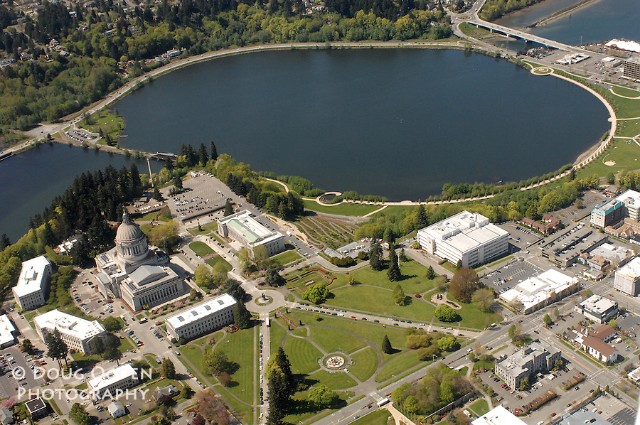 Aerial view of the Washington State Capitol Campus and Capitol lake, Olympia WA