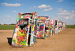Cadillac Ranch automobile sculpture in the middle of a field near Amarillo, Tex.