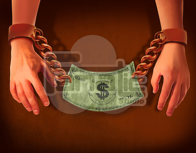 Illustrative image of businessman's hands with handcuffs and dollar note representing business crime