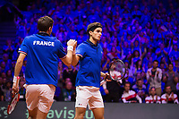 Le joueurs de tennis Nicolas Mahut  &amp; Pierre-Hugues Herbert oppos&eacute;s aux joueurs Croates Mate Pavic &amp; Ivan Dodig lors de la  Finale du double de la Coupe Davis France vs Croatie, au Stade Pierre Mauroy &agrave; Villeneuve d'Ascq .<br /> France, Villeneuve d'Ascq , 24 novembre 2018.<br /> French tennis players Nicolas Mahut  &amp; Pierre-Hugues Herbert vs Croatian tennis players Mate Pavic &amp; Ivan Dodig, during the final of the Davis Cup, at the Pierre Mauroy stadium in Villeneuve d'Ascq .<br /> France, Villeneuve d'Ascq , 24 November 2018