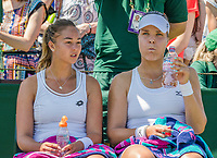 London, England, 5 th July, 2017, Tennis,  Wimbledon, Womens doubles: Lesley Kerkhove (NED) (L) / Lidziya Marozava (BLR)<br /> Photo: Henk Koster/tennisimages.com