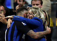 Calcio, Serie A: Inter Milano - AC Milan , Giuseppe Meazza stadium, .October 21, 2018.<br /> Inter's captain Mauro Icardi celebrates with his wife Wanda Nara after winning 1-0  the Italian Serie A football match between Inter and Milan at Giuseppe Meazza (San Siro) stadium, October 21, 2018.<br /> UPDATE IMAGES PRESS/Isabella Bonotto