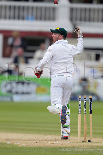 20.08.2012 London, England. A B de Villiers jubilantly tosses the ball in the air after running out James Taylor during the morning session on day five of the third test between England and South Africa from Lords.
