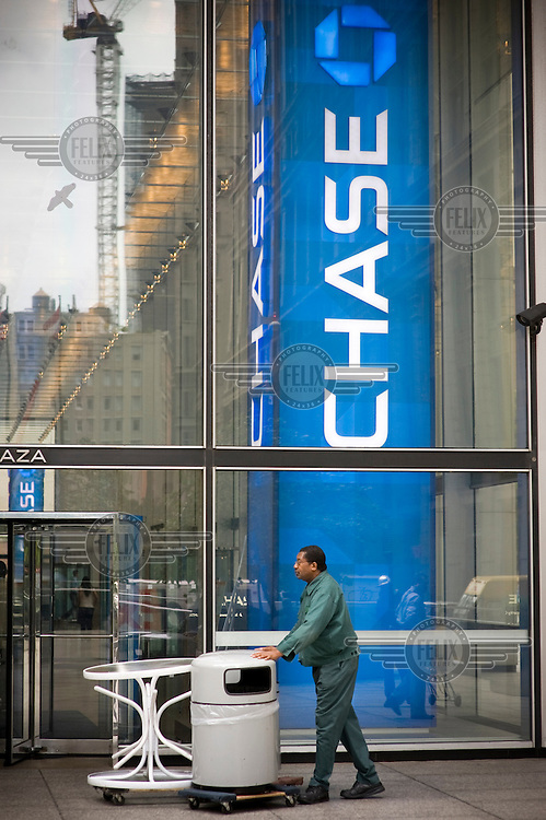 Outside JPMorgan Chase Bank on Wall Street on the day when share prices plummeted after the US Government failed to reach an agreement to bail out the country's ailing financial institutions.
