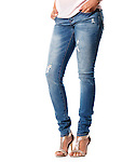 Closeup of woman legs wearing jeans denim pants and high heel shoes isolated on white background